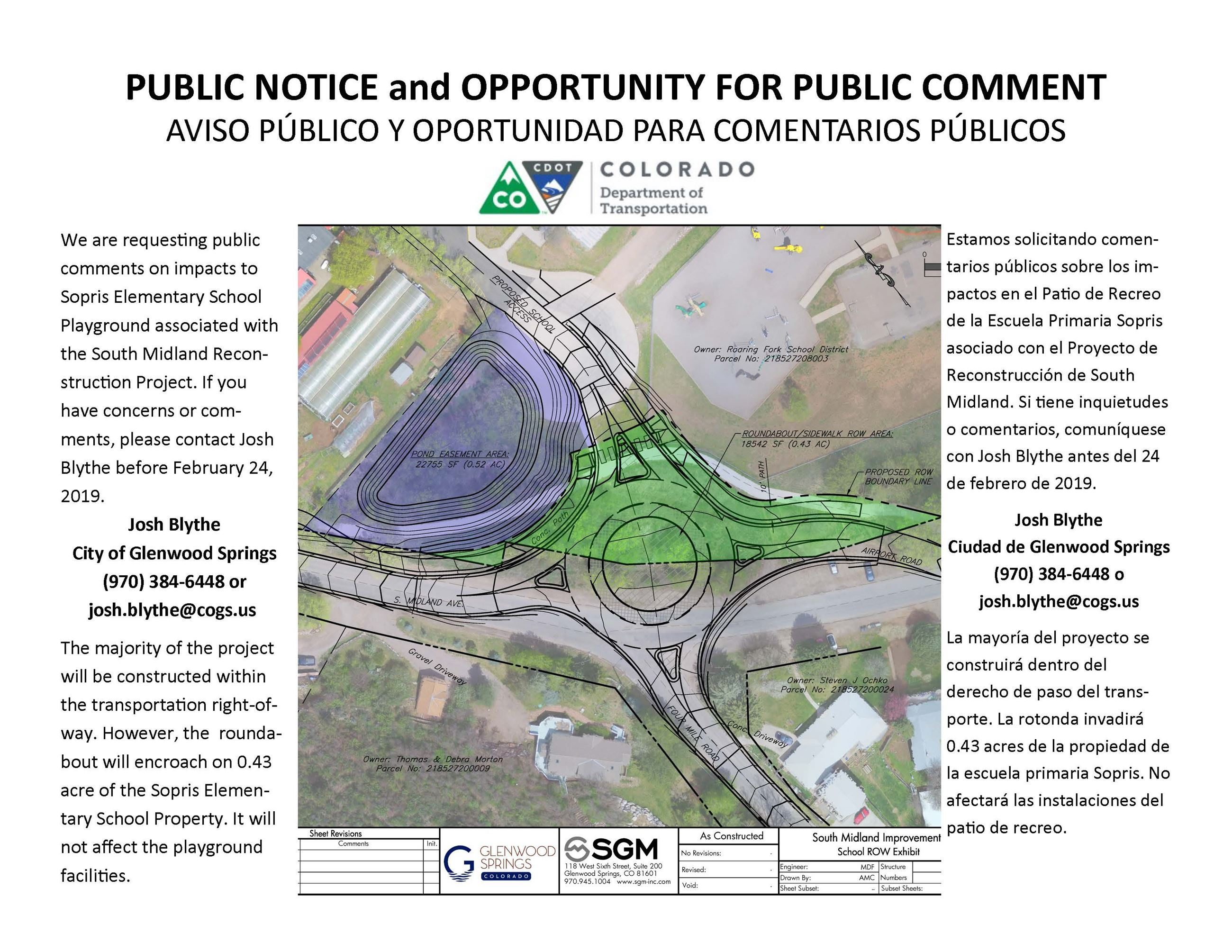 South Midland Reconstruction Project Public Notice